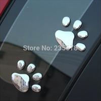 Car Sticker 3D Dog Bear Footprints Chrome Badge Emblem Car Sticker Decal