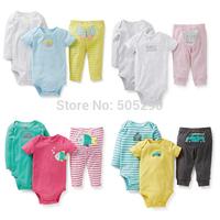 New Arrived Baby clothes set,Original Carters Baby Boys Girls Clothings Sets, Carters Baby Bodysuits+Pants 3pcs/Set