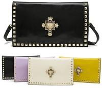 New Arrival Punk  Rivets Design  Napa Leather Evening Clutch Bag Women Handbags Messenger Shoulder Bags with Belt Bags A987