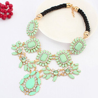 New Design Women Chunky Light Green Resin Water Drop Flower Bib Statement Necklaces & Pendants Wholesale Free Shipping#108537