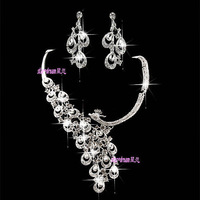2014 Necklace Earring Charm Teardrop Crystals Rhinestone Bridal Jewelry Set Wedding Accessories New Style 3-45