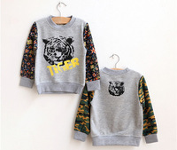 kids tshirt boys brand 2014 Autumn kids tiger heand print camouflage hoody boys and girls Sweatshirts children fashion pullover