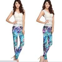 Min order 5 usd Fashion Leggings Women Galaxy Print Leggings Space Print Pants Punk Shiny pants  Black Milk