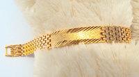 Gool Men's 18k yellow gold filled bangle Watchband chain bracelet arch bridge