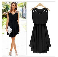 In the summer of 2014 leisure fashion women sleeveless pleated v-neck chiffon diamond with foreign trade dress