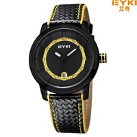 EYKI Brand Men's Military Watches,Men's Leather Strap Sports Watches Auto Date