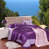 80 fabric count solid purple Tencel Lyocell king size bedding sets 4PCS;double-side print comforter/roupa de cama+2 pillowcases