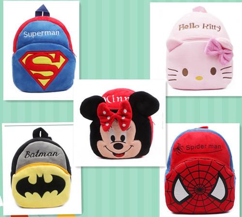 Retail children's plush backpacks, Hello Kitty bag& Minnie Backpack&Spider baby toy Backpack& children cartoon bag(China (Mainland))