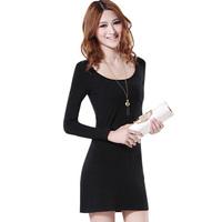 2014 spring round neck T-shirt skirt long design o-neck sweet slim basic shirt The thin render unlined upper garment for women