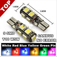 10pcs/lot T10 9 SMD 5050 LED Canbus Error Clearance Lights Car Lights BULB W5W 194 Reading,Meter,license light,door lamp