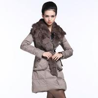 Europe Europe down jacket female genuine long sections of fox fur runway fashion women's clothing