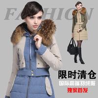 2014 new European winter raccoon fur collar slim fashion splicing hit color fashion slim down jacket women