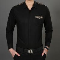 2014 NEW Free shipping spring autumn men's fashion casual long sleeve slim fit design shirt black
