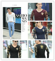 Free Shipping  2014 new Fashion Brand Designer Autumn Winter Men Animal Cotton T Shirts Casual Long Sleeve Print T-shirt