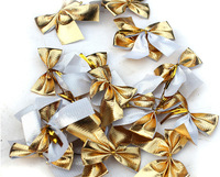 2014 FREE SHIPPING New Year Natal Recommended 24PC per Lot Size 5.5cm Bling Bowknot Golden Christmas Bow