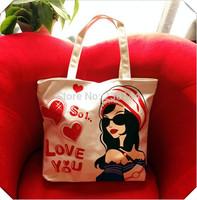 Fashion 2014 Summer Casual Canvas Bags Dog House Letter Pattern Lovely Cute Women Big Shoulder Bag Character Female Handbag Girl