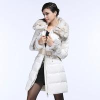Europe's luxury fashion counter genuine fox hair temperament in long white lapel jacket dress