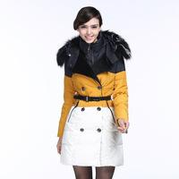 Europe European candy color contrast color fox fur  money down jacket fine ladies runway