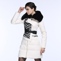 4 winter new European station zebra and splicing in the long section of self-cultivation of Rex Rabbit Fur Collar Jacket