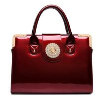 OL Fashion Inlaid Crystal Tide Bright Skin Patent Leather Handbag Women Bags Free Shipping