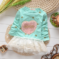 New 2014 autumn 2015 Spring Baby Girl Clothing, Long Sleeve Infant Lace Patchwork Dresses, Kids Princess Dress  F15