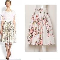 Plus Size Autumn Vintage Saia Floral Print Midi Long Puff skirt Plus Size Ball Gown High Waist Pleated Skirts Womens s144926