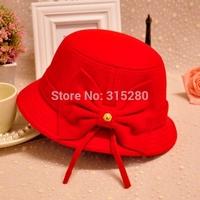 Wholesale children girl winter party fashion warm wool felt bowknot bucket hats
