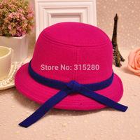 Wholesale children girl winter party formal fashion warm wool felt bowknot bucket hats