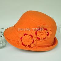 Wholesale women winter party formal fashion new wool felt flower fedora hats