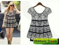 Summer new pleated short sleeve chiffon shirt  XXXL blusas plus size SDR#28