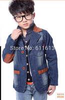 Autumn 2014 children new PU stitching cowboy small suit cuhk young children's wear coat