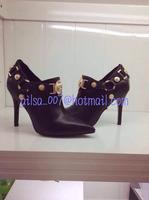 2014 Autumn New Fashion Point Toe High Thin Heel Genuine Leather Brand Designer Women Pumps Black Size34-42 Hot Sale