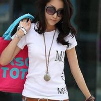 100% cotton letter print short-sleeve T-shirt 2014 female summer slim basic shirt fashion all-match Fashionable joker T-shirts