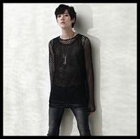 Reticularis 2014 male T-shirt long-sleeve slim long-sleeve T-shirt men's punk style mesh hot sale t shirt