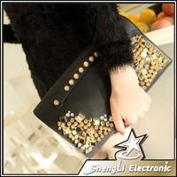 2014 new influx of women shoulder Rhinestone bag female pouch Fashion rivets bag Clutches Crossbody Shoulder phone bags