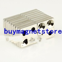 magnets 50mm 20pcs Block Counter Sunk Magnets 20 * 10 x 4mm Hole 4mm Rare Earth Neodymium N35 magnet