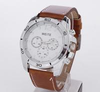 Hot sale 2014 dropship fashion gift clock quartz analog big dial for men  ladies reloj wristwatches leather strap watches