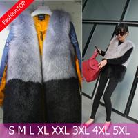 F1295 2014 New Women Autumn And Winter Plus Size O-neck Faux Fox Fur Vest  Patchwork Artificial Mink Fur Coats