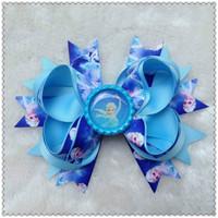 10pcs /lot  2 colours 2014 bottle cap frozen hair bows children ribbon bows 20148181