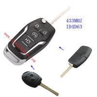 Free shipping 10pcs/lot New 2014 uncut 3 buttons 4D63 flip remote key with 433mhz
