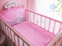 Baby Cot Bedding Set Bumper,5pcs Newborns Baby Bed Sets in Summer,Washable Convenient,Cot Bedding Set Pink,Cartoon Bedding Set