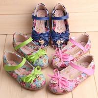 2014 autumn Korean version of sweet floral bow princess shoes children shoes women shoes casual shoes Peas