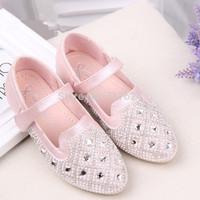 2014 Korean version of the diamond girls princess shoes children shoes Velcro pu leather shoes wholesale