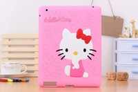 Free Shipping Cute Hello Kitty Silicon back case cover for ipad 2&3&4 soft case protective for ipad 4