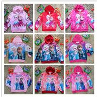 New Hot girls Frozen jackets kids spring autumn printing princess coat children's leisure outerwear in stock