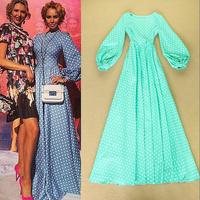 2014 Autumn high-end print Dot catwalk Big Swing Puff Sleeve Long Dress