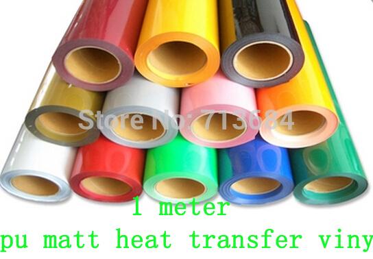DISCOUNT 1 meter PU matt vinyl for heat transfer heat press cutting plotter 0.5*1m 27 colors choose one color(China (Mainland))