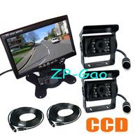 "2 x18 IR CCD 4 Pin Reversing Camera Night Vision Waterproof + 7"" LCD Monitor Rear View Kit Bus Truck Van Free Shipping"