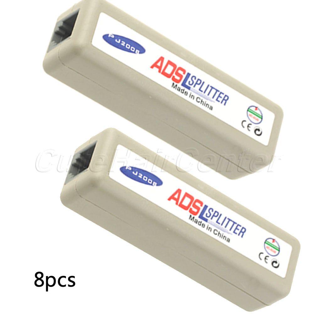 8pcs/lot Hot Sale RJ11 ADSL Modem Broadband Phone Line Filter Splitter Adapter for Phone/Modem -Reduce Noise High Quality(China (Mainland))