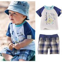Retail+Free Shipping 2014 boy summer Clothing Set (T- shirt + shorts),baby Boys Clothing Suit,kids clothes sets